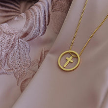 Load image into Gallery viewer, Cute Gold Plated Cross Necklace on fabric