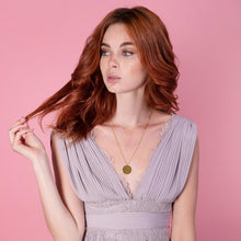 Load image into Gallery viewer, Trendy Gold Plated Coin Necklace on model with pink background