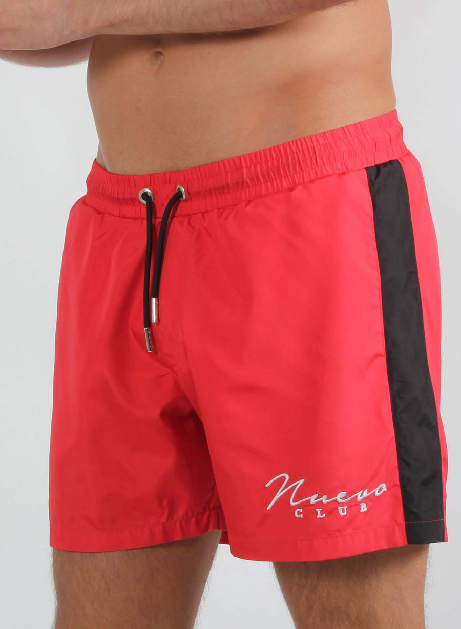 PANEL SWIM SHORTS - RED/BLACK