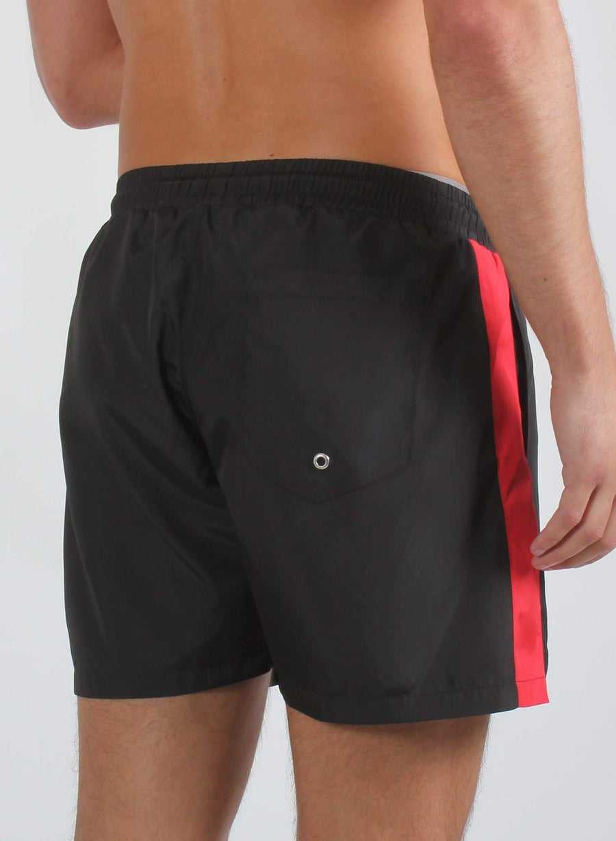 PANEL SWIM SHORTS - BLACK/RED