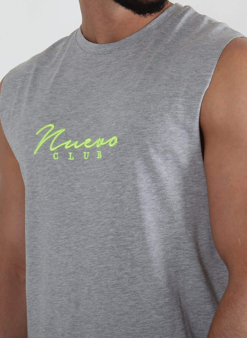 SIGNATURE SLEEVELESS - GREY/FLUORESCENT