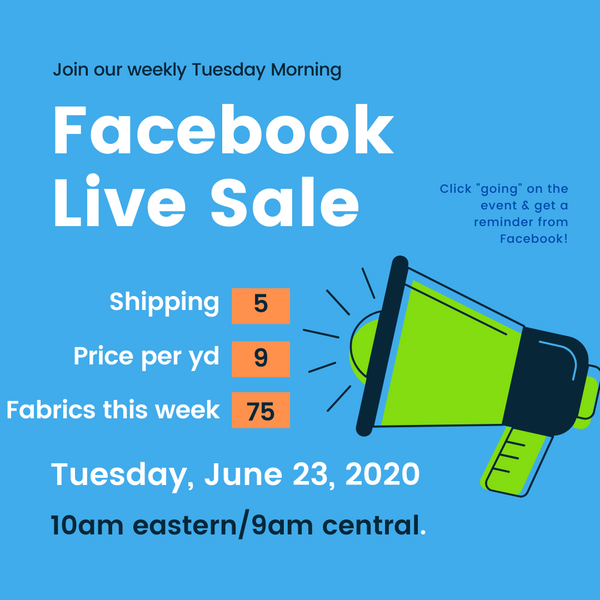 Facebook Live Sale every Tuesday morning