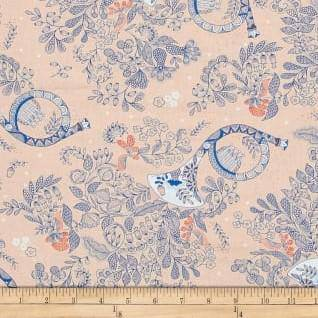 Melodie Peach Navy French Horn 26307-C - Fabrics N Quilts