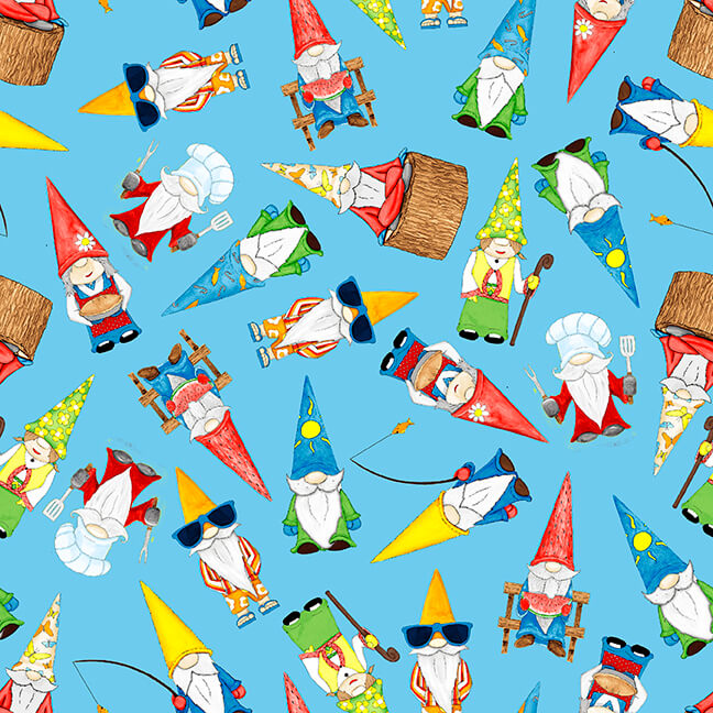 Hangin With My Gnomies Blue Tossed Gnomes 1444-70 - Fabrics N Quilts