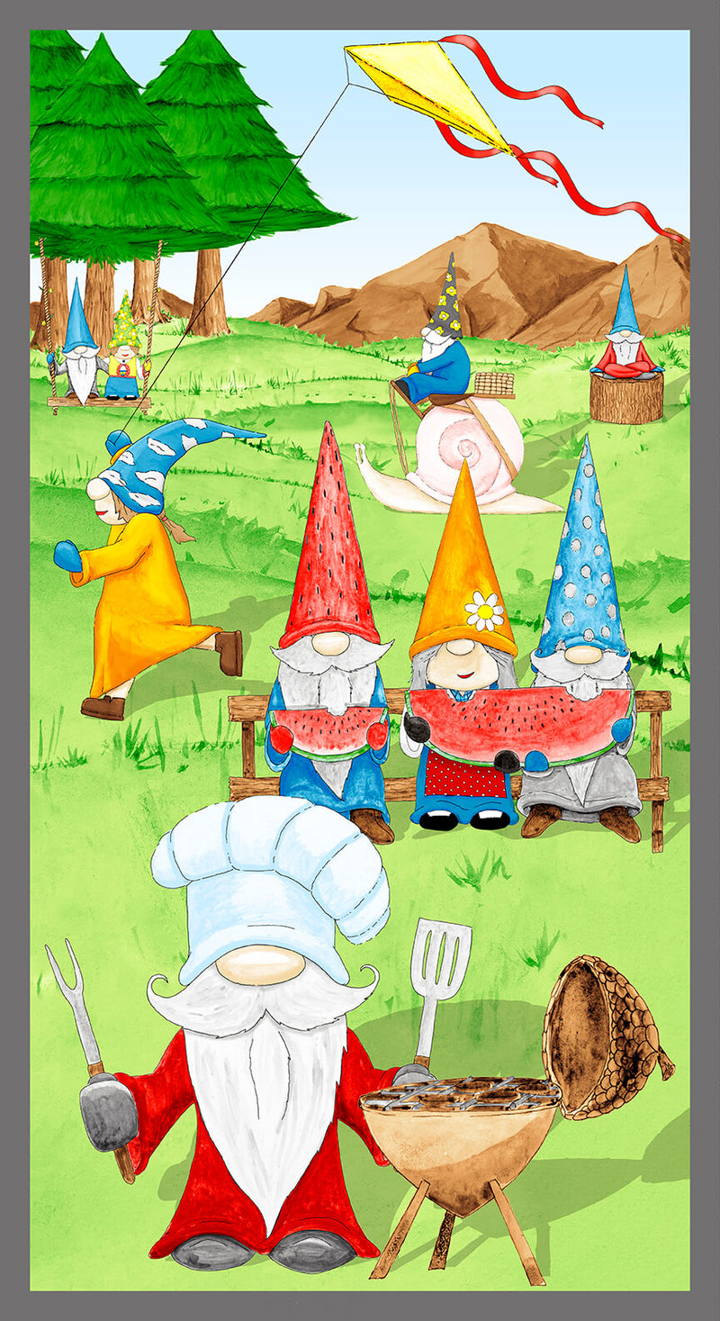 Hangin With My Gnomies Green Camping Gnome Panel 1447P-66 - Fabrics N Quilts