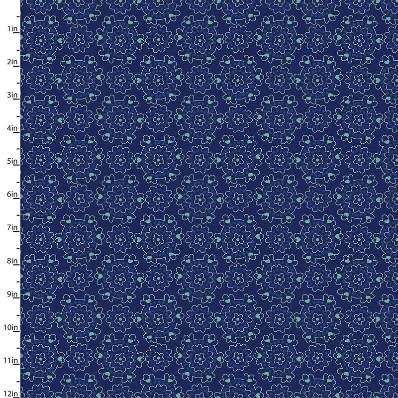 Summer Song Navy Small Posey Medallion 17265-NVY