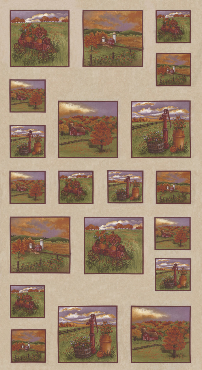 Country Charm Northwoods Landscape Panel 6790-12 Oat Tan - Fabrics N Quilts