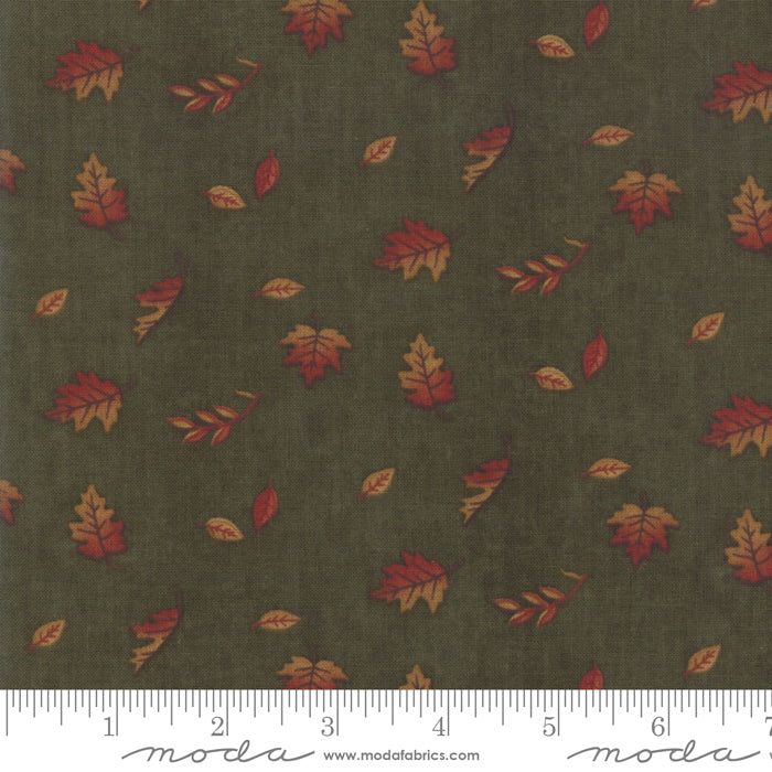 Country Charm Autumn Green 6793-15 Falling Leaves - Fabrics N Quilts