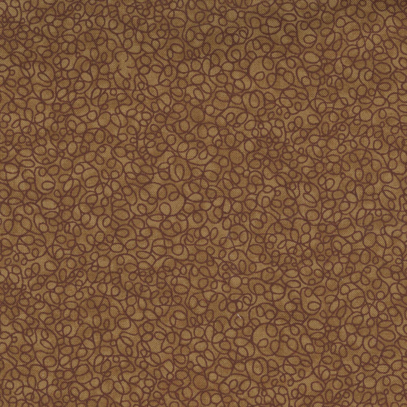 Quilters Cupboard 1918-01, Loops Fudge Brown - Fabrics N Quilts