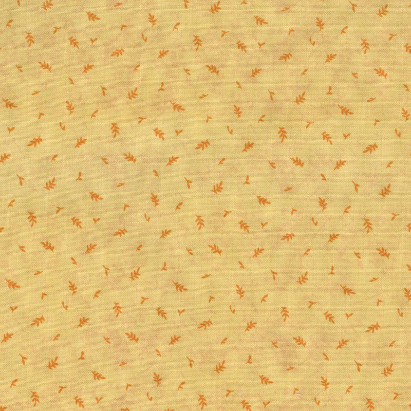 Quilters Cupboard 1919-02, Leaves Carrot Yellow Orange - Fabrics N Quilts
