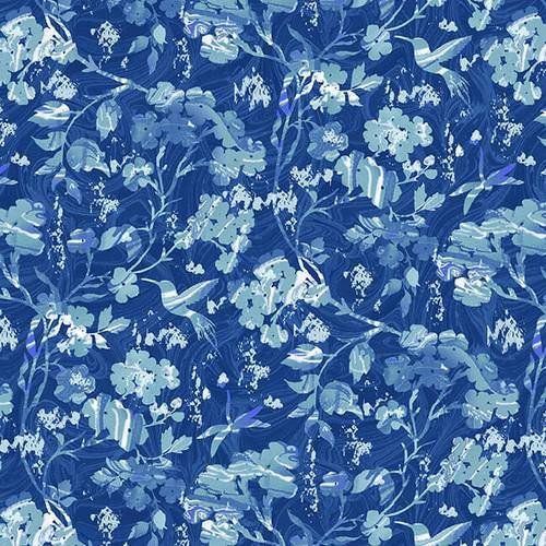 Pearl Luxe II 1930-77P Marble Floral Blue - Fabrics N Quilts