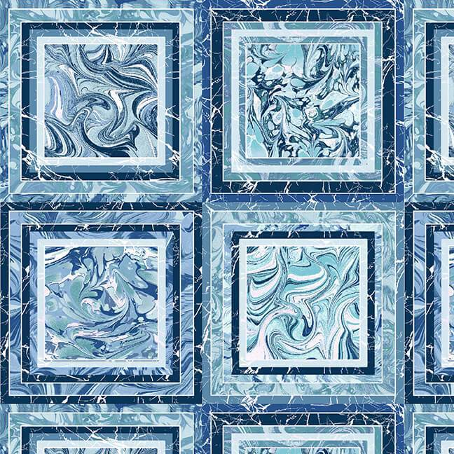 Pearl Luxe II 1932-77P Marble Blocks Blue - Fabrics N Quilts