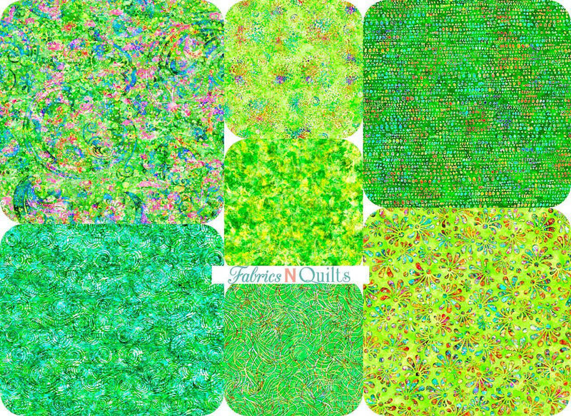Radiance - Green 7 Fat Quarter Bundle - Fabrics N Quilts