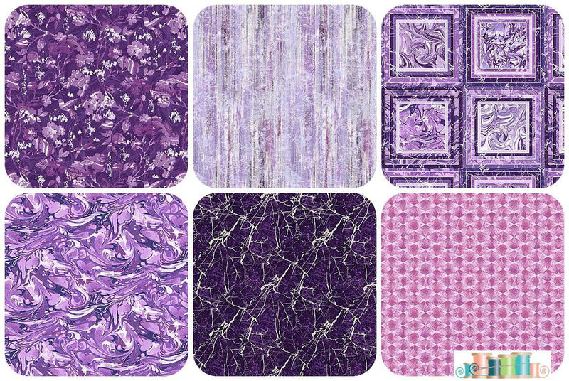 Pearl Luxe II, Henry Glass - 6 Purple Fat Quarter Bundle - Fabrics N Quilts