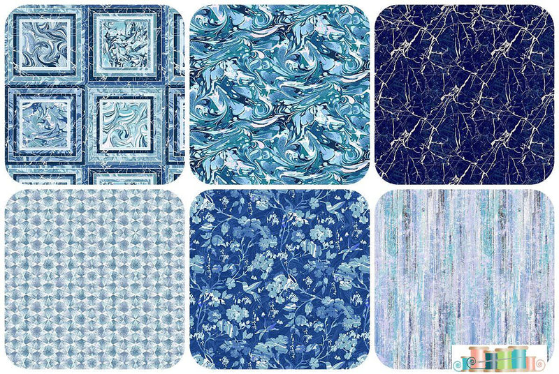 Pearl Luxe II, Henry Glass - 6 Blue Fat Quarter Bundle - Fabrics N Quilts