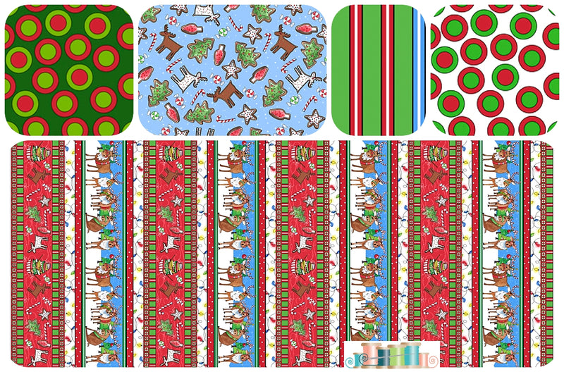 Reindeer Antics 5 FQ Christmas bundle - Fabrics N Quilts