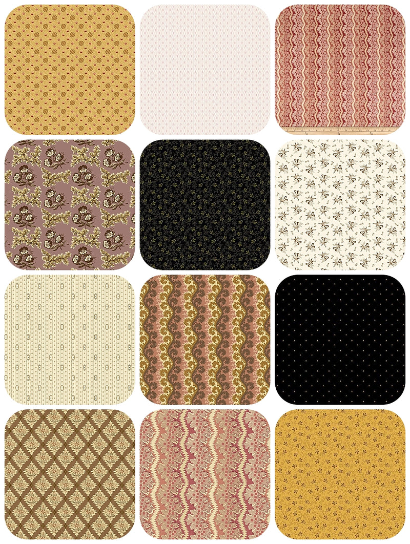 Civil War Reproductions from Andover, 12 Fat Quarter Bundle - Fabrics N Quilts