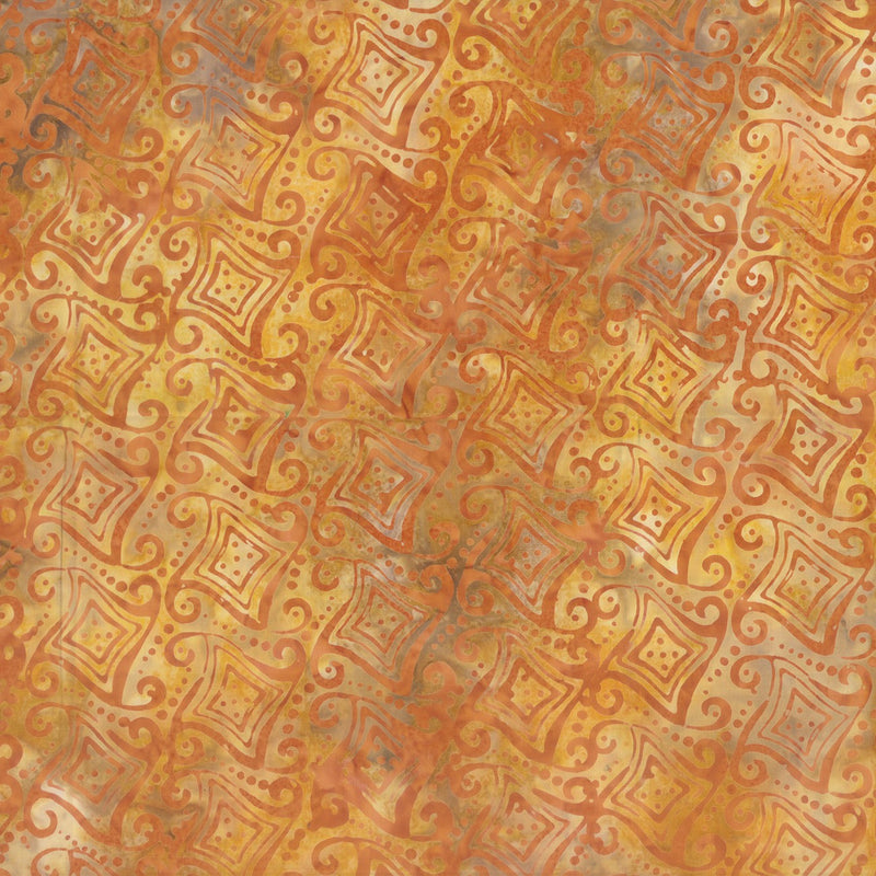 Batavian Batiks Orange Fancy Geometric Batik 22216-885 - Fabrics N Quilts