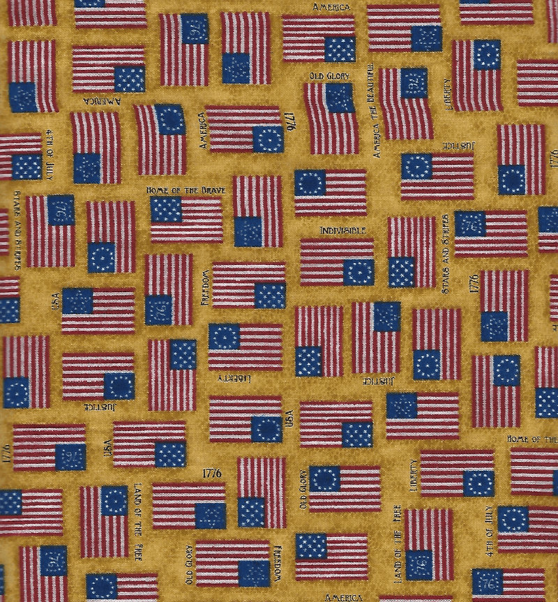 For Love of Country, Scattered USA Flags, Yellow 24178-S - Fabrics N Quilts