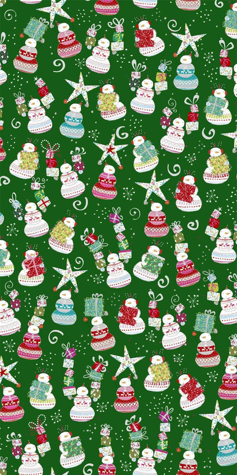 Happy Christmas Snowman Tossed Forest Green 27257-F - Fabrics N Quilts