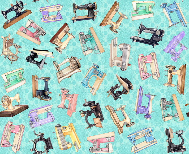 Tailor Made, Tossed Sewing Machines Aqua 27336-Q - Fabrics N Quilts