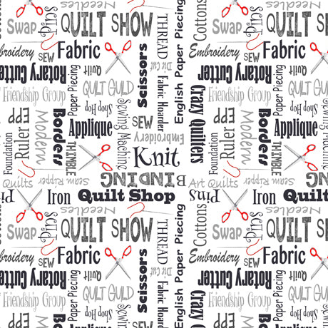It's a Shop Hop, Quilting Sewing Words Text 27555-J - Fabrics N Quilts