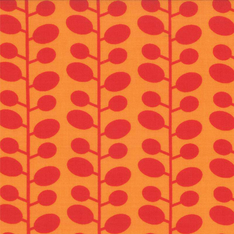 Mixed Bag, Brushed Cotton Leaf, Tangerine 32868-21 - Fabrics N Quilts