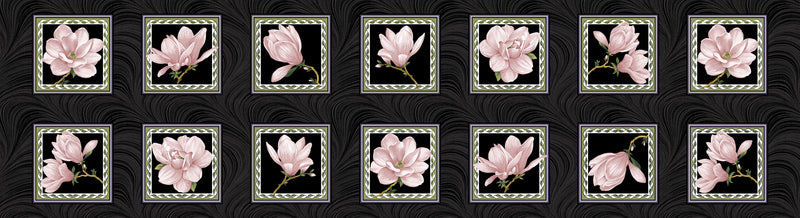 Accent on Magnolias Coral/Black Magnolia Bloom Blocks 3616B-20 - Fabrics N Quilts