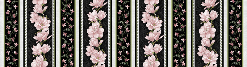 Accent on Magnolias Coral/Black Magnolia Blooms Stripe - Fabrics N Quilts