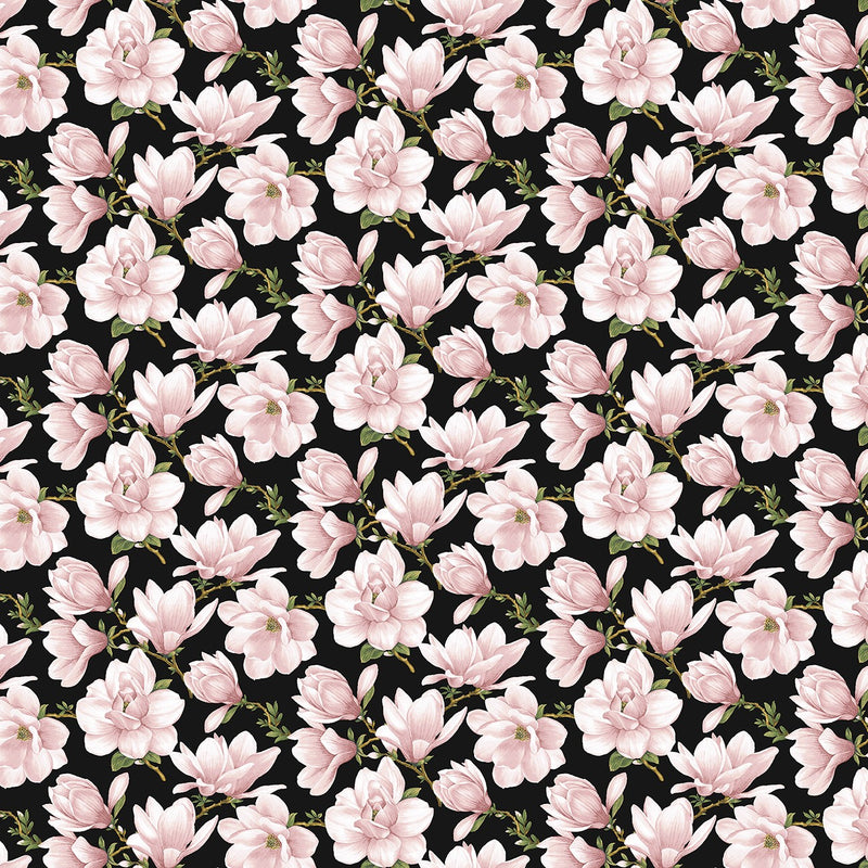 Accent on Magnolias Coral/Black Magnolia Blooms Allover 3618B-20 - Fabrics N Quilts
