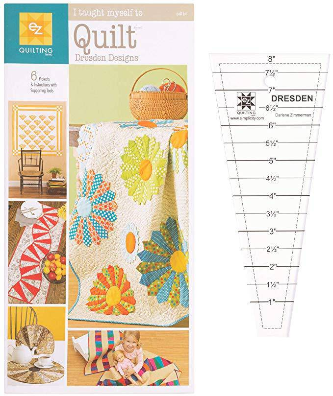 EZ I Taught Myself To Quilt Dresden Quilt template plus patterns - Fabrics N Quilts