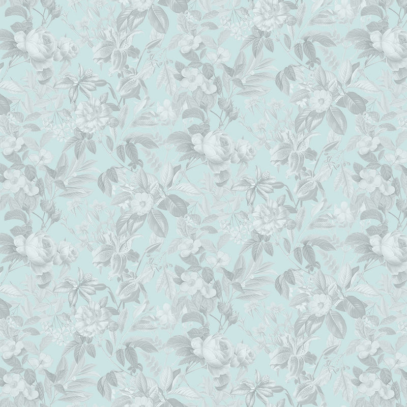 Secret Escape Tonal Toile Flowers 588E-Blue