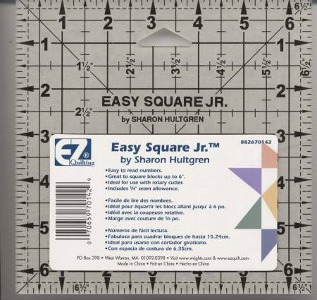 "EZ Rule 6.5"" Square Ruler - Fabrics N Quilts"