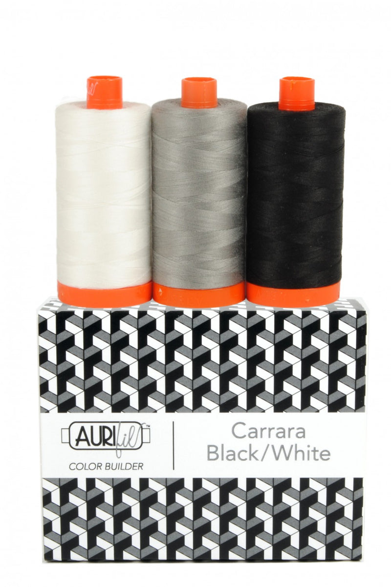 Aurifil Color Builder 3 pc Set- Carrara Black-White-Grey - Fabrics N Quilts
