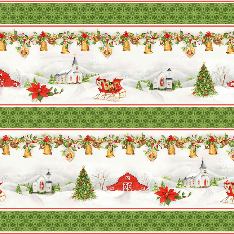 Christmas Chimes, Church Barn Metallic, Stripe CHIM 526-RG - Fabrics N Quilts