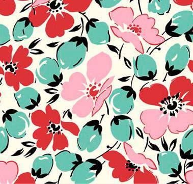 Feedsack, Aqua Pink Red 30s Floral, Feed-642PT - Fabrics N Quilts
