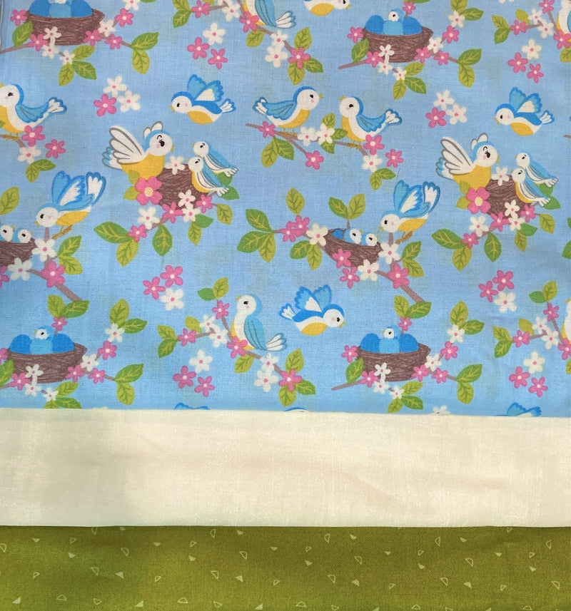 3 Yard Quilt Kit - Blue Birds - Fabrics N Quilts
