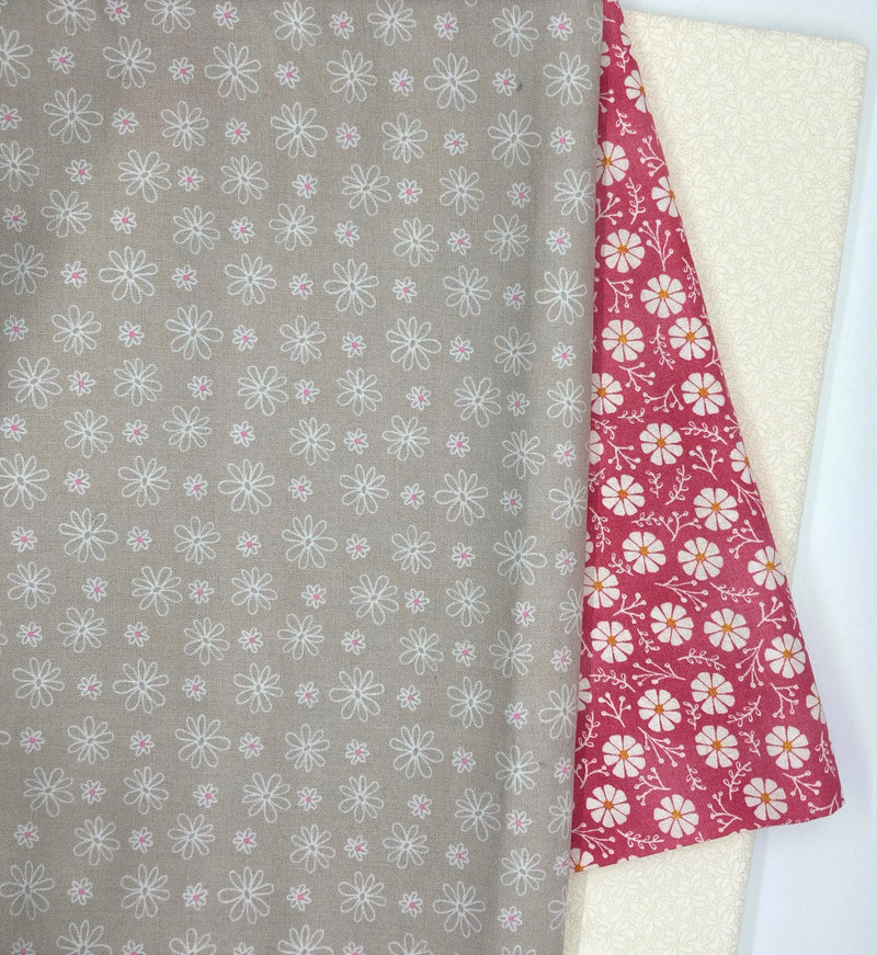 3 Yard Quilt Kit -Pink and Grey Daisies - Fabrics N Quilts