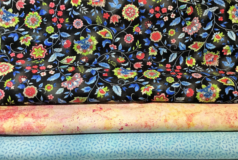 3 Yard Quilt Kit - Black Floral - Fabrics N Quilts