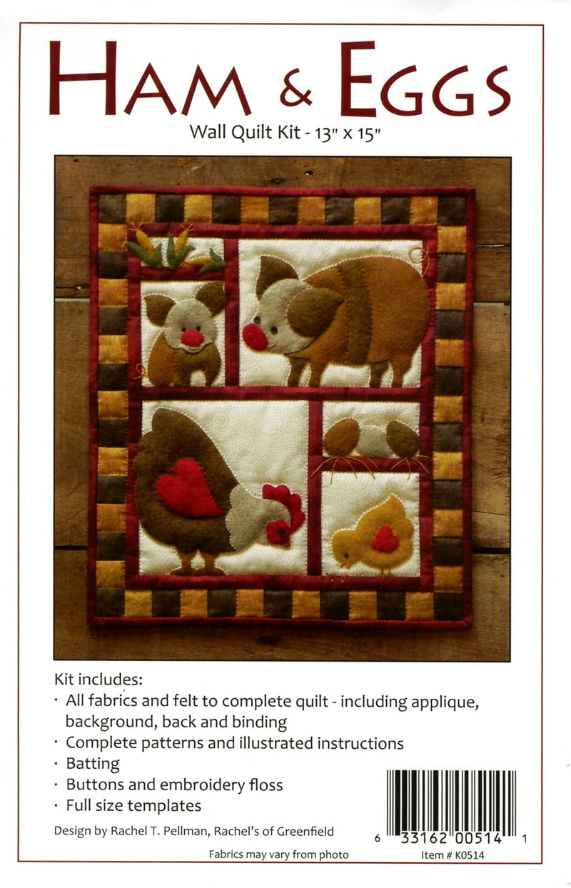 Woolfelt Ham & Eggs Wall Hanging Kit - Fabrics N Quilts
