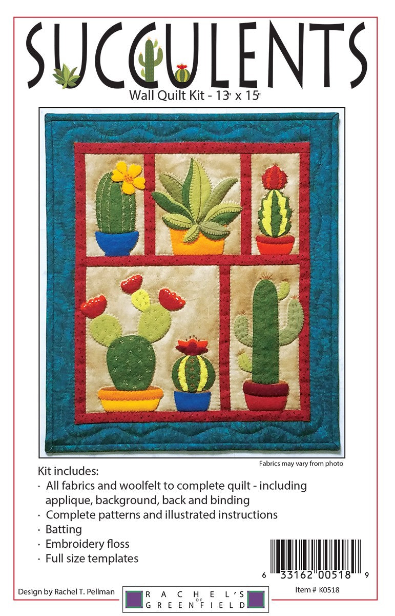 Woolfelt Succulents Wall Hanging Quilt Kit - Fabrics N Quilts