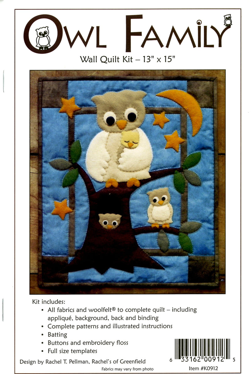 Woolfelt Owl Family Wall Hanging Quilt Kit - Fabrics N Quilts