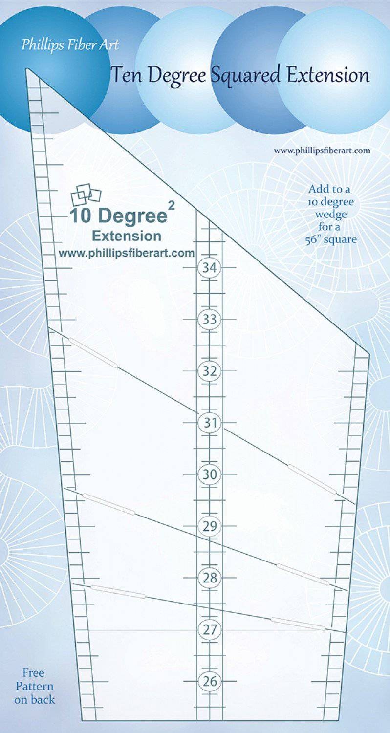 Extension Squared, 10 Degree Wedge Ruler, Phillips Fiber Art - Fabrics N Quilts