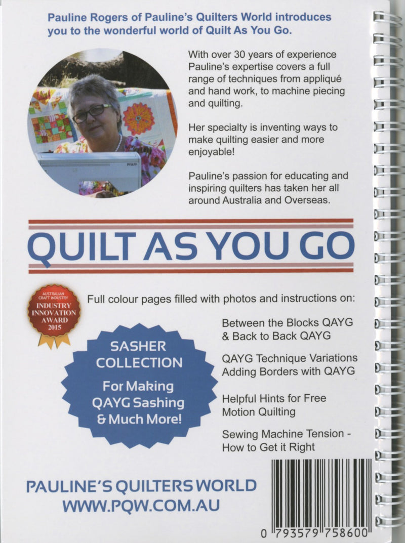 Quilt As You Go Handbook, Pauline Rogers using Sashers - Fabrics N Quilts