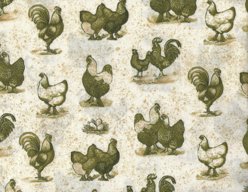 Farm Fresh, Chickens, Green Tan Toile - Fabrics N Quilts