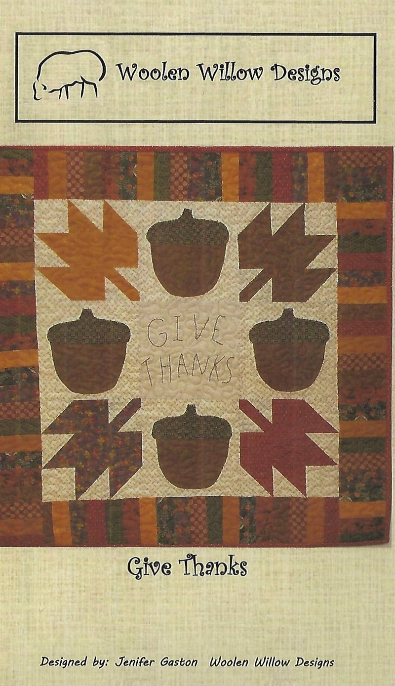 Give Thanks Wool Applique Wall Hanging Quilt Pattern - Fabrics N Quilts