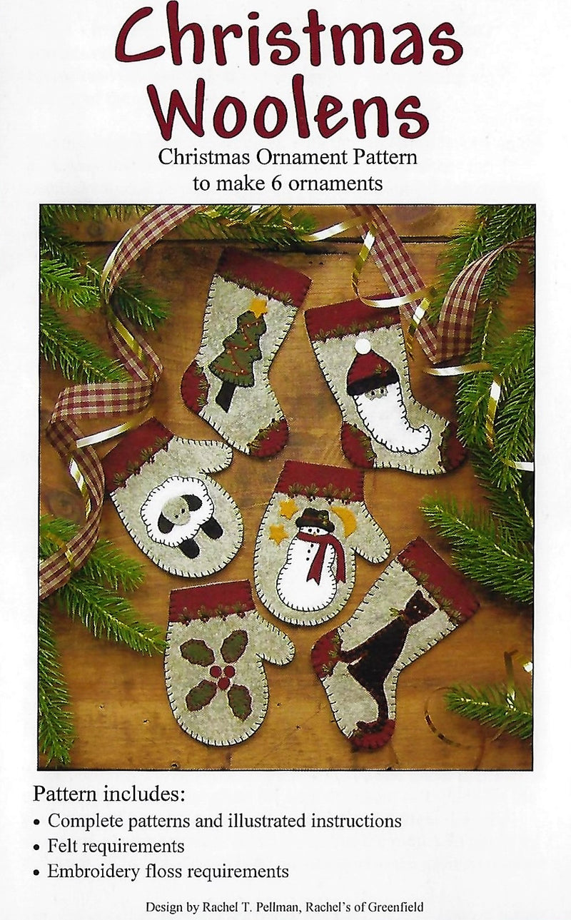 Christmas Woolens Ornament Pattern P0803 6 designs - Fabrics N Quilts