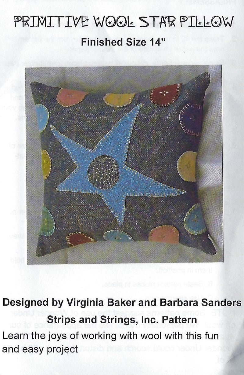 Primitive Wool Star Pillow Applique Pattern - Fabrics N Quilts