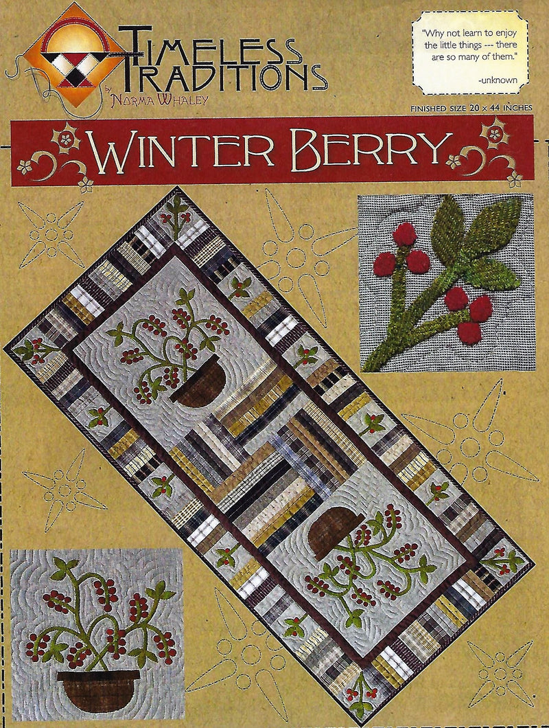 Winter Berry Wool Applique Table Runner Pattern 10020 - Fabrics N Quilts