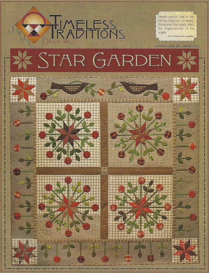 Star Garden Wool Applique Quilt Pattern 10034 - Fabrics N Quilts